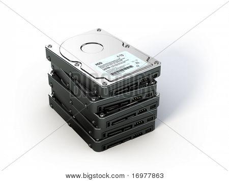 Stack of Hard Disk Drives