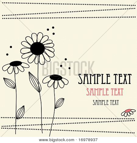 Floral retro background for greeting card. Vector