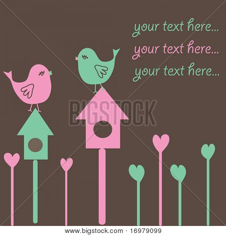 Background with birds on nestling box. Vector illustration