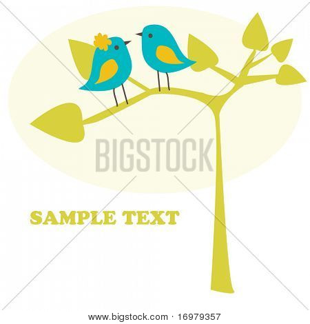Birds couple. Vector.