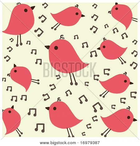 Birds song. Seamless wallpaper. Vector.