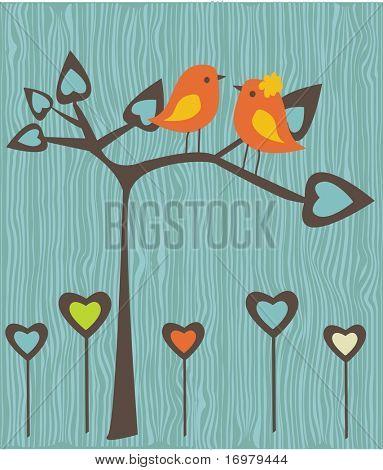 Birds in love. Vector illustration.