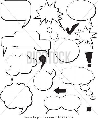 Vintage comic speech balloons. Vector.