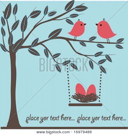 Birds family. Vector.