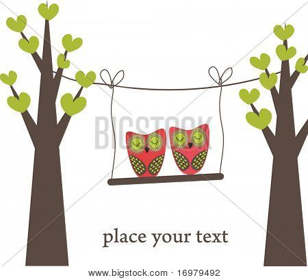 Sleeping owls couple. Vector