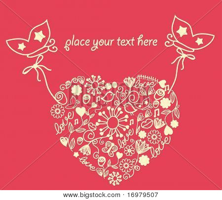 Butterflies holding valentines card. vector.