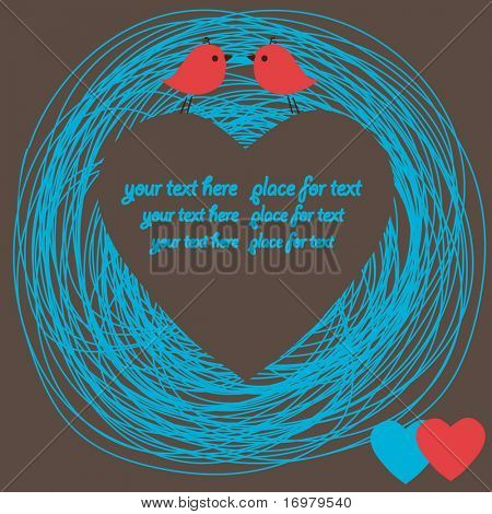 Heart card with birds couple. Vector.