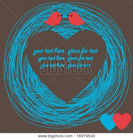 Heart card with birds couple. Vector.