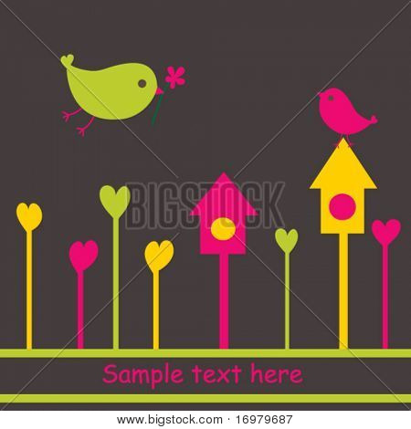 Birds in love. Cute vector illustration.