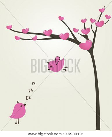 Love couple of birds. Vector.