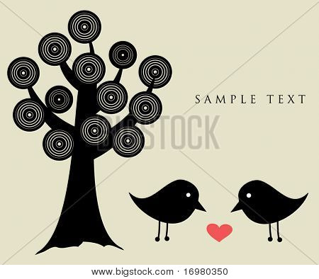 Black birds under abstract tree.