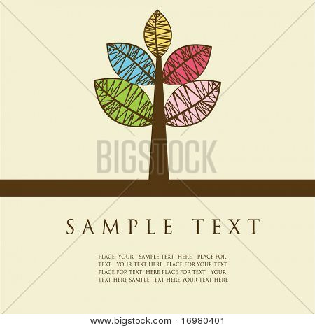 abstract card with multicolored tree. Vector.