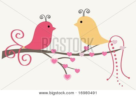 Abstract birds couple. Vintage vector illustration.