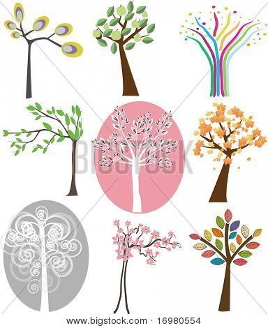 Set of different trees. Vector.