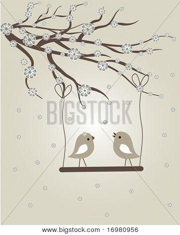 Spring birds. Vector.