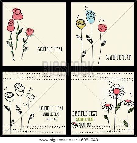 Floral cards set , vector illustration