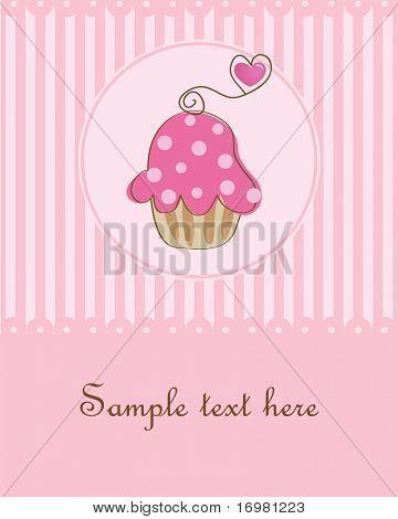 Cupcake card.Vector illustration.