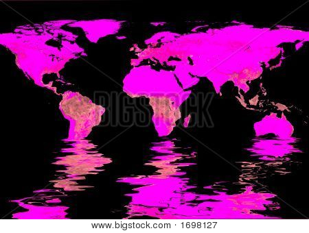 World Map And Water Reflection #2