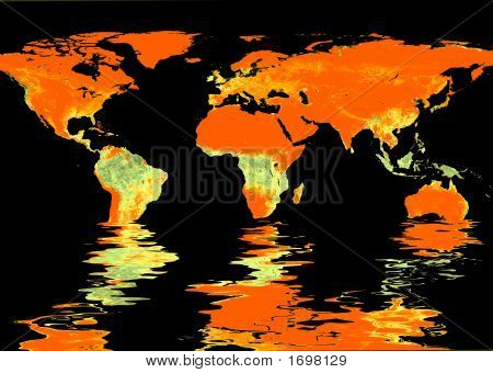 World Map And Water Reflection #3