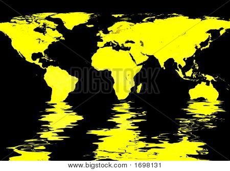 World Map Flooded