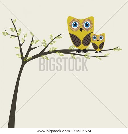 Two owls on the tree.
