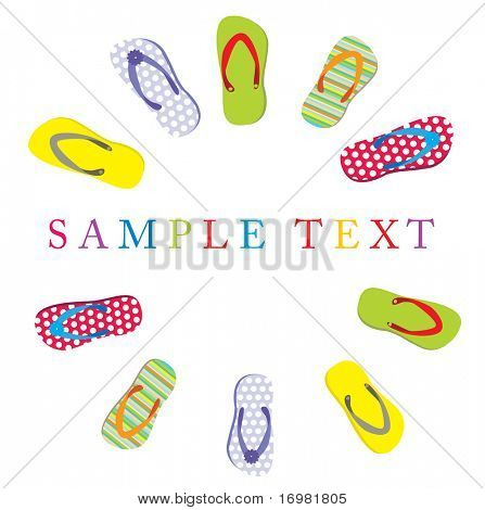 Summer card with slippers and place for text. Vector.