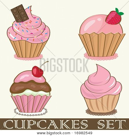 Retro cupcakes set. Vector format.