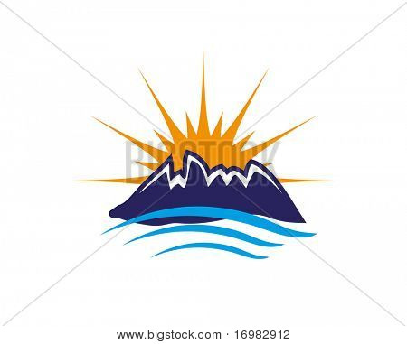 Sun, sea and mountains. Vector icon