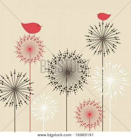 Vintage background with red birds and flowers