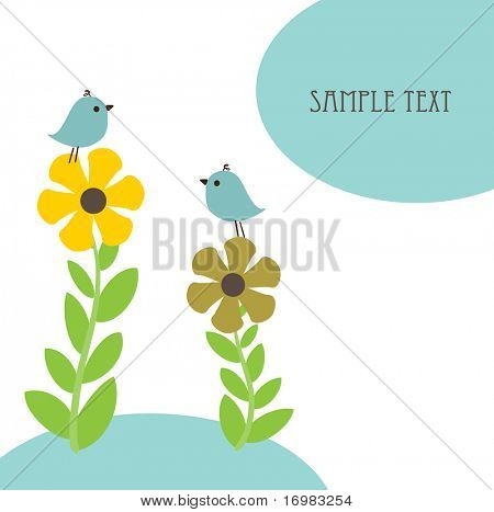 Cute birds on the flowers