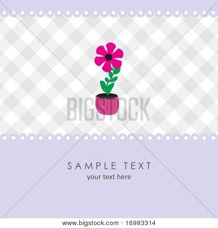 Cute flower. Vector greeting card