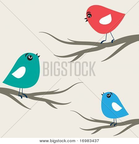 Cute birds on the trees