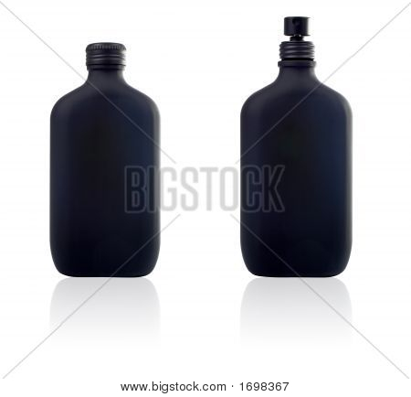 Two Bottle Of Parfum And Spray With Reflection