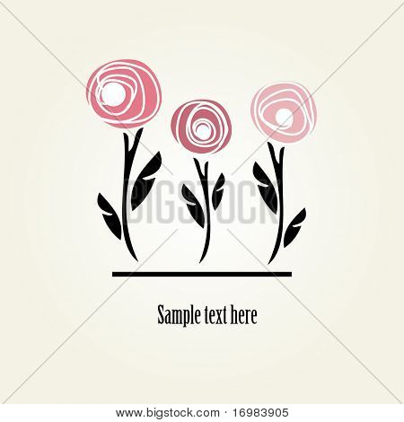 Floral card with abstract roses