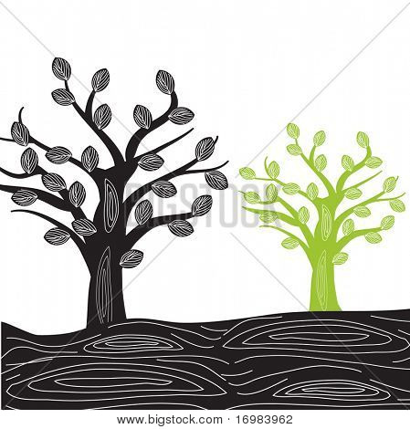 Two trees. Vector illustration