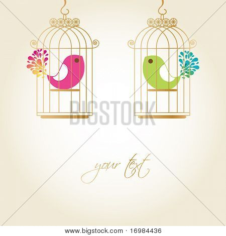 Cute birds in golden cages