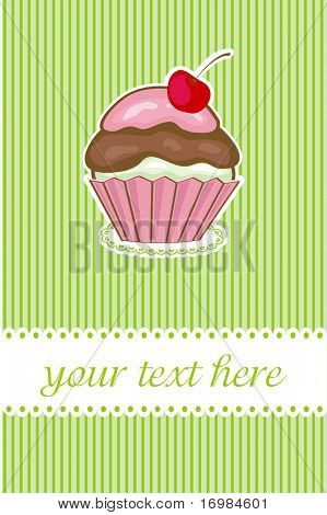 Birthday card with cherry cupcake. Good for any gender and age