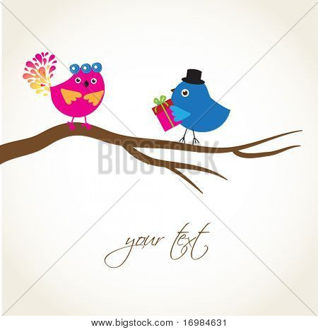 Greeting card with cute birds couple