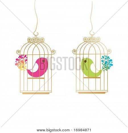 Cute birds in golden cages. Jpeg version
