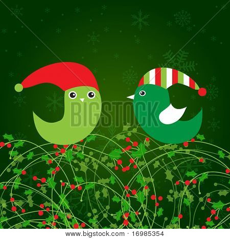 Birds couple on the holly berry branch. Holiday greetings card