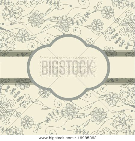 Vintage floral frame with place for text