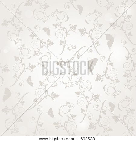 Vintage seamless background with flowers and butterflies