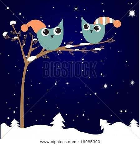 Christmas greeting card with owls couple