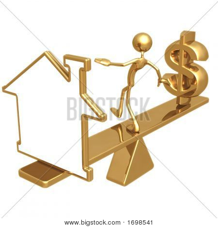Balancing Blank Home Symbol Outline Sign And Dollar