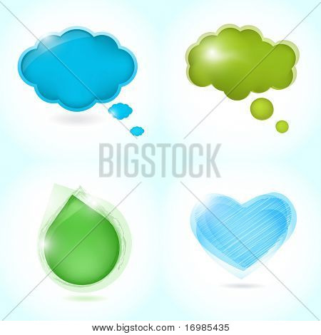 Speech bubbles set  from  water drop, heart and clouds