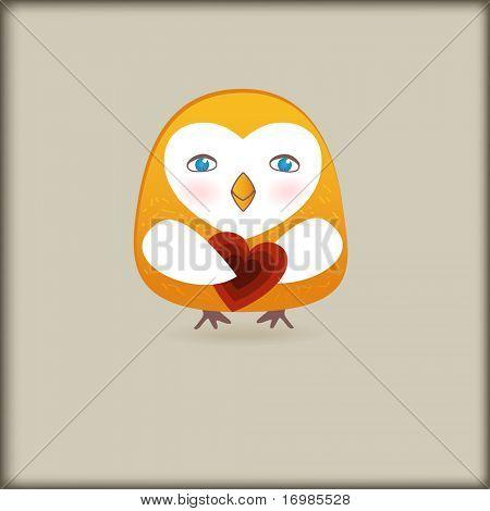 Cute romance bird with heart