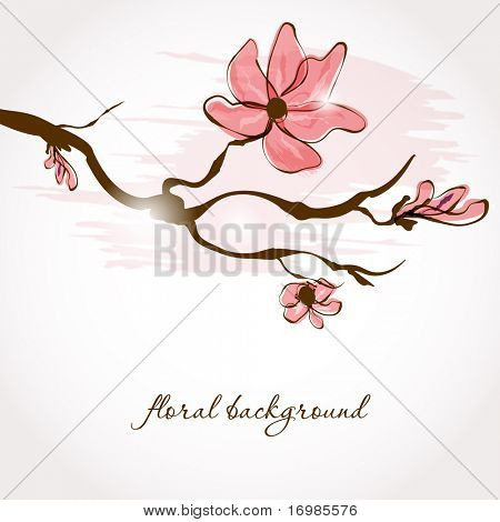 Vintage greeting card with sakura branch