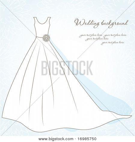Wedding background with bride dress