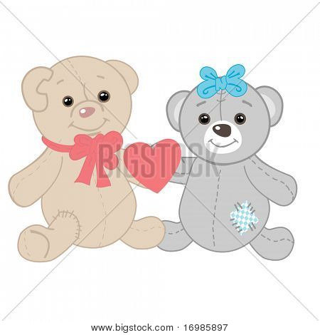 Cute bears couple. Valentines card