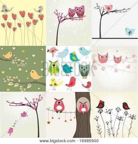 Set de 9 tarjetas de San Valentín con aves cute